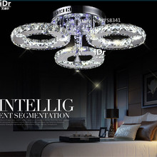 New LED Three rings Ring Chandeliers Chrome color Stainless Steel Room Hanging Lamp LED Chandelier Lustres Living room lamps(China)