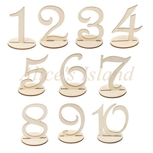 10pcs 1-10 MDF Wooden Table Numbers with Holder Base Stand Holder Table Number for Wedding Event Decoration(China)