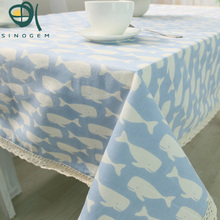 Sinogem New Mediterranean Style Dolphin Design Cotton&Linen Readymade Tablecolth for Rectangular table,2 Colors customized(China)