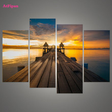 AtFipan Unframed Maldives Wood Trestle Painting Canvas Wall Spray Painting Modern Decorative Canvas Art Work Prints On Home