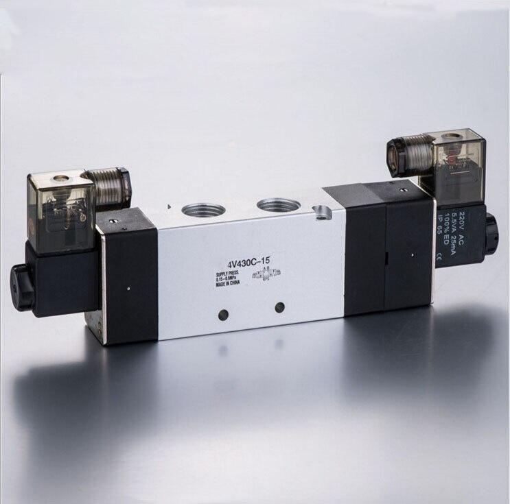 Air Control Pneumatic Solenoid Valve 4V430C-15 double head close type  1/2 BSPT DC12V,DC24V,AC24V,AC110V,AC220V<br>