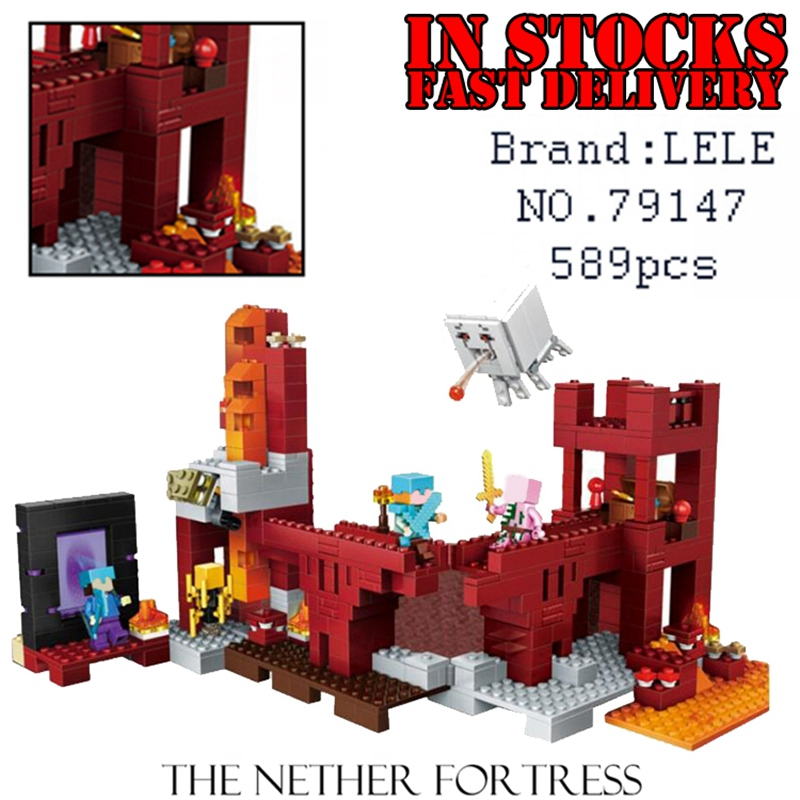 LELE My World Minecraft 79147 589pcs the Nether Fortress Building Blocks Bricks enlighten toys for children gift brinquedo 21122<br>
