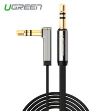 Ugreen 3.5mm audio cable 90 degree right angle flat jack 3.5 mm aux cable for car iPhone MP3/4 headphone beats speaker aux cord(China)