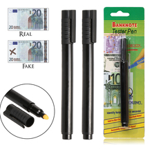 2 pcs Banknotes Money Checker Counterfeit Detector Fake Money Tester Marker Pen Black(China)