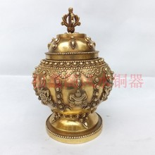 Home supplies copper tank decoration crafts Large eight copper pot decoration antique copper pot