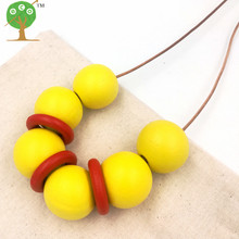 yellow red Geometric jewelry wooden beads Necklace minimalist modern necklace boho tribal new year design NW128