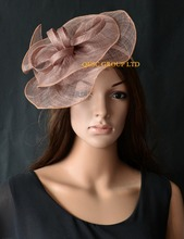 Taupe brown pink Sinamay fascinator with overlock stitch&sinamay loops for Races,kentucky derby,wedding
