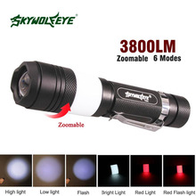 Tactical 6 Modes XM-L T6 3800LM Flashlight Zoomable Cree LED 18650 Flashlight Torch Light Camping Nightlight + USB Cable APJ(China)
