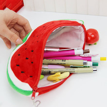 Cute Large Capacity Pencil Bag Plush Watermelon Stationery Storage Bags School Supplies 1 PC