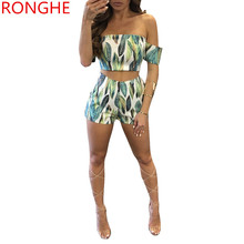 RongHe Tracksuit Print Slash Neck Sets  Women Pantsuit Crop Top And Bodycon Shorts Sexy Fashion Two Piece Summer Ensemble Femme
