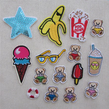 15 kind cartoon style patch hot melt adhesive applique embroidery patches stripes DIY clothing accessory patch C707-C721(China)