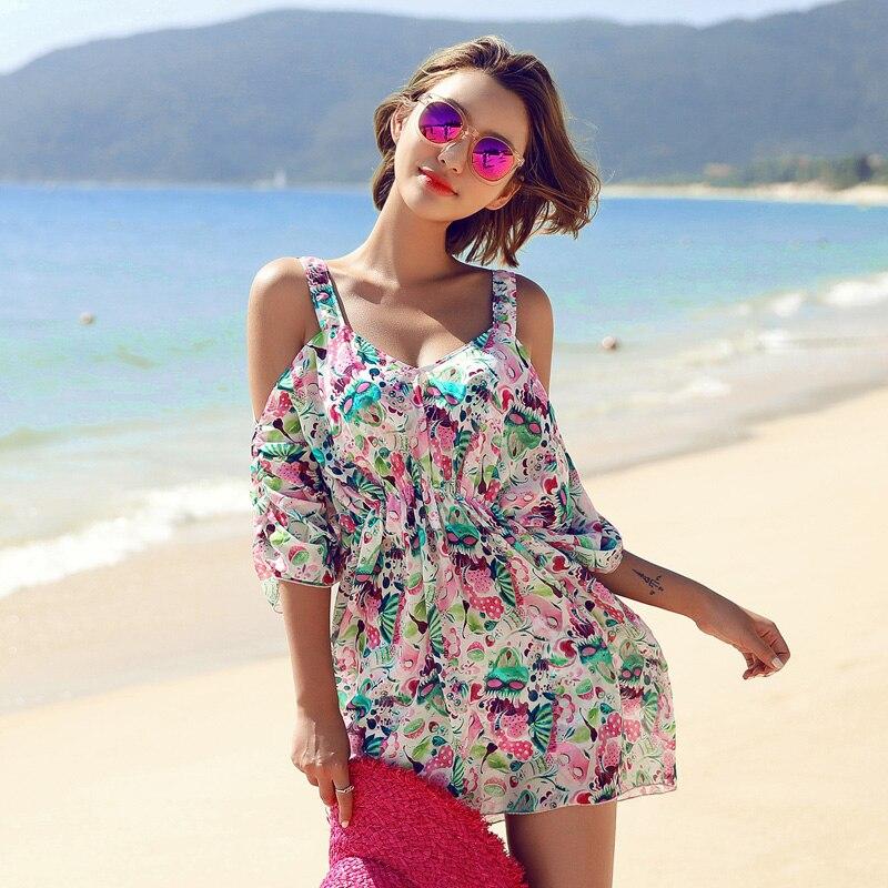 Floral Bikini Women Swimsuit Dress Skirt 2018 Summer Sexy Printed Swimwear Push Up Bikini Set Bathing Suit Monokini <br>