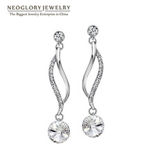 Neoglory Chandelier Austrian Crystal Light Yellow Gold Color Long Dangle Earrings For Women Girl Brand Gifts Jewelry 2017 New P1