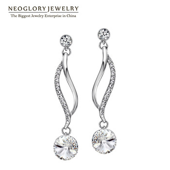 Neoglory Chandelier Austrian Crystal White Gold Plated Long Dangle Earrings For Women Girl Brand Gifts Jewelry 2017 New P1