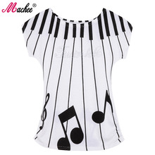 2017 Brand New Women Printed Tees Fashion Summer Cotton Short Sleeve Piano Keyboard Printed Loose Female Woman T-shirts Tops(China)