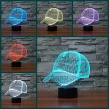 MLB Detroit Tigers World Series LED Night Light 7 colors changing Acrylic Table Lamp 3D Baseball Cap Hat Illusion Decor Lights