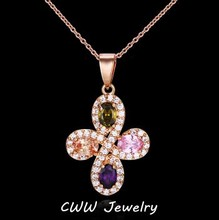 CWWZircons Brand Lucky Four Leaf Shape Mixed Pink Green Purple Color Women Crystal Pendant Necklace With Zircon Stones CP058(China)