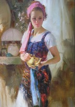 Woman painting Girl With Teapot by Pino Daeni Canvas Art Reoproduction Home Decor hand painted high quality(China)