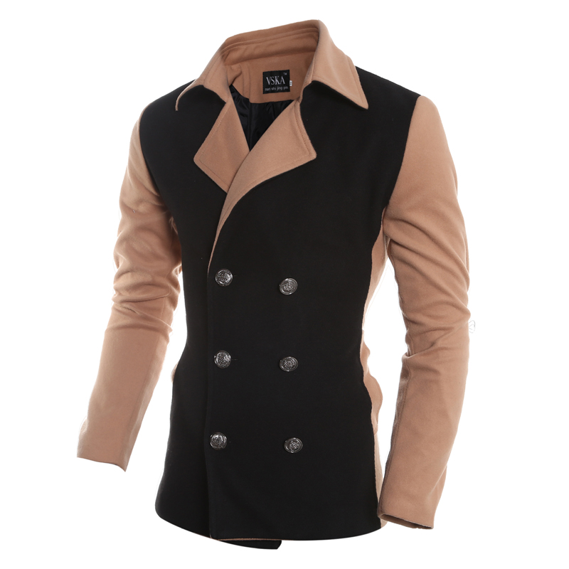 2015 The Fashion Design New Sale Autumn Winter Trench Coat Men The Double-Breasted Coat Stitching Mens Overcoat
