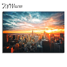 New York City Night Cityscape Silk Cloth Poster Painting Art Picture For Home Living Room Hotel Wall Decoration Art Gift 90*60cm