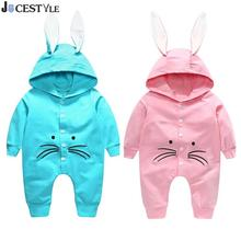 JOCESTYLE Baby Rompers Warm Winter Long Bunny Ear Infant Cute Rabbit Style Hooded Jumpsuit Cotton Boys Girls Playsuit(China)