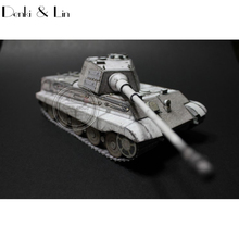 1:35 3D Germany Tiger II Tank Winter Painting Paper Model Second World War Assemble Denki & Lin Puzzle Game DIY Kids Toy