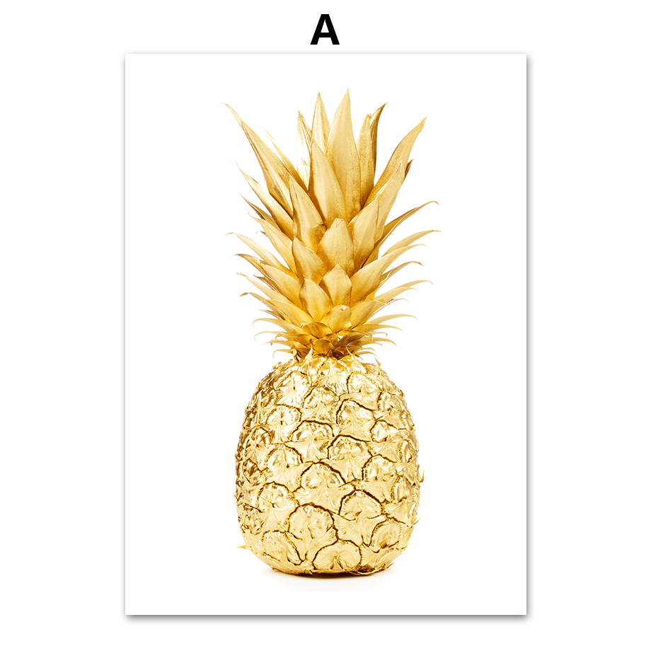 AFFLATUS Minimalism Nordic Golden Pineapple Life Quotes Canvas ...