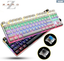 Metoo Gaming Mechanical keyboard 87 key blue switches Backlit Led Wired teclado mecanico keyboard Russian Stickers(China)