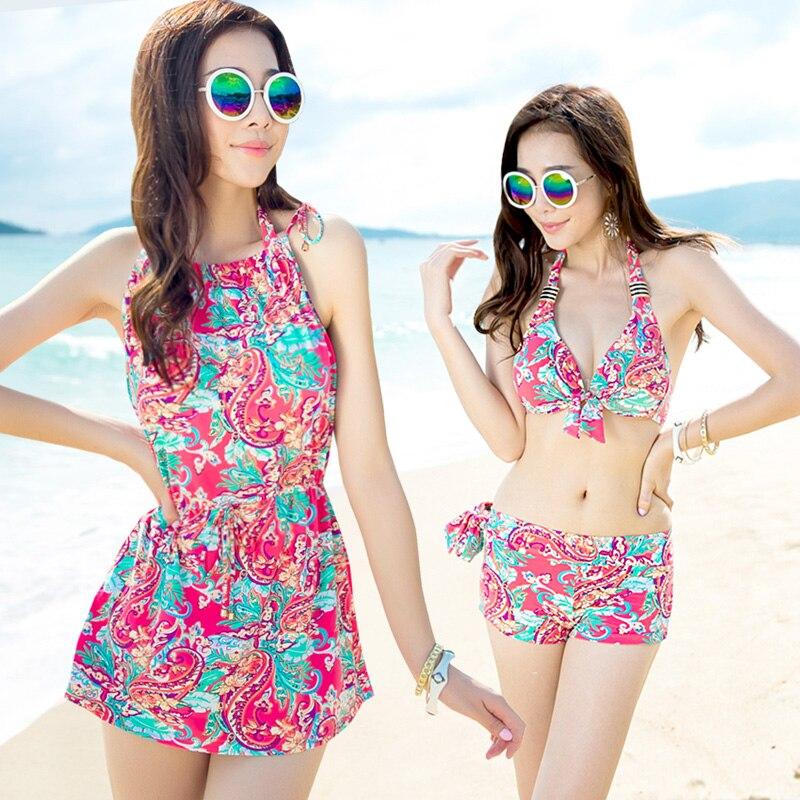 NIUMO NEW Bikini Set three-piece suit Swimsuit woman Large size Gather Hot spring swimwear Beach swim printing Swimwear<br>
