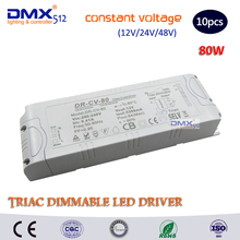 80W (12V/24V/48V) constant Voltage TRIAC dimmable led driver dimming power supply lighting transformers converter power source(China)