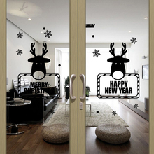 Removable Christmas Wall Sticker Deer Snowflake Window Wall Decor Art Decals Washable Wall Stickers Home Decoration