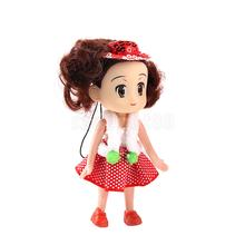 Mini Doll Phone Charm Strap Toy 10cm Girl w/ Paillette Hat Pendant DIY Keyring Bag Decor Accessory Gift