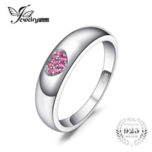 JewelryPalace Love Heart 0.04ct Created Ruby Promise Wedding Bands Ring For Women 100% 925 Sterling Silver Fashion Fine Jewelry(China)