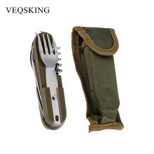 Army Green Folding Portable Stainless Steel Camping Picnic Cutlery Knife Fork Spoon Bottle Opener Flatware Tableware Travel Kit(China)