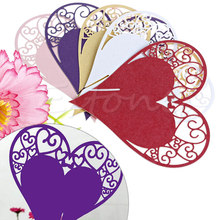 50pcs Heart Table Name Place Card Wine Glass For Wedding Birthday Party New A18686
