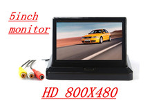 "HD5"" Car Rear View System Foldable 800X480TFT Color LCD Car Reverse Rearview  Car Security Monitor for Camera DVD VCR 12V-24V"