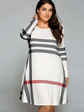 Gamiss Casual Plus Size XL-5XL Striped Long Sleeve T-Shirt Dress Women T Shirt Midi Dress Patchwork Stripe Pullover Casual(China)