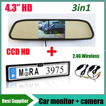 4.3'' car monitor mirror and 2.4G wireless CCD HD Car parking reverse rear view camera License Plate Frame For EUR European Car(China)
