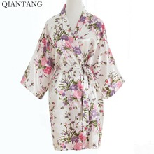 Top Selling White Women's Kimono Short Robe Bathgown Sleepwear Rayou Bath Gown Mini Nightgown Pijama Mujer One Size Mys011(China)