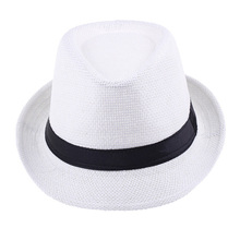 [COSPLACOOL] Beach Sunhat Fedora panama hat Summer Style Sun hat Trilby Straw panama Hat Gangster Cap Fit For Women Men