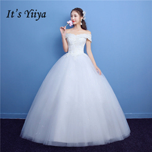 Buy It's YiiYa White Boat Neck Sleeveless Popular Wedding Gowns Embroidery Simple Pattern Appliques Wedding Dress H07 for $43.99 in AliExpress store