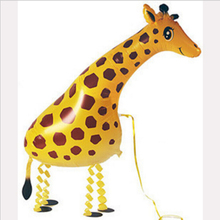 1pc/lot Children love 39*91cm Giraffe Balloon Walking Pet Balloon Animals Shape Foil Balloon for Birthday Party decorate