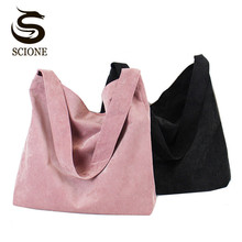 Scione Canvas Women Handbag Corduroy Women Bag Shopping Shoulder Bag Large Pocket Big Capacity Bags Casual Beach Tote 4 Colors(China)