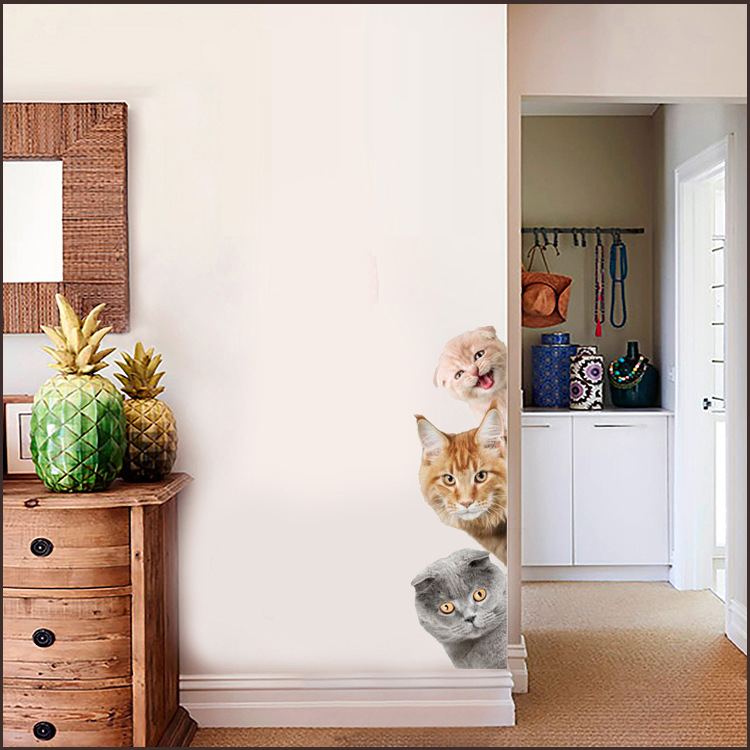 Cats 3D Wall Sticker Funny Door Window Wardrobe Fridge Decorations for Kids Room Cats 3D Wall Sticker Funny Door Window Wardrobe Fridge Decorations for Kids Room HTB1MHn5fbsTMeJjy1zcq6xAgXXaX