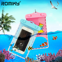 Romiky Cartoon PVC Waterproof Phone Bags for Samsung Galaxy A3 A5 A7 J1 J2 J3 J5 J7 Prime Case Swimming Dive Surfing Strap Pouch