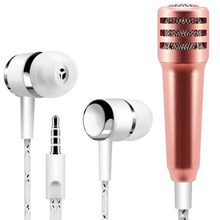 2in1 Mini Microphones with Earphones Mini Stereo Microphone 3.5mm Wired for iPhone Android Laptop PC for Singing Recording Chat