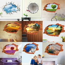 ceiling Sea Ocean Tree Blue Sky 3D landscape painting window hole wall sticker home decals for couple house wedding decorative(China)