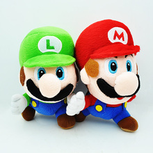 2pcs/lot 17cm Super Mario Bros Running Mario & Luigi Plush Doll Toys Mario Plush Luigi Plush Toy Soft Stuffed Toys Gift for Kids(China)
