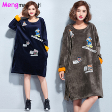 Women Velvet Thicken Warm Dress Cartoon Print O Neck Long Sleeve Casual Loose Clothing Autumn/Winter T6097 Plus Size Blue Brown(China)