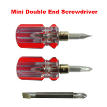 1PC Mini Double End Slotted and Philips Screwdriver with Non-slip Massage Small Pocket Screw Driver